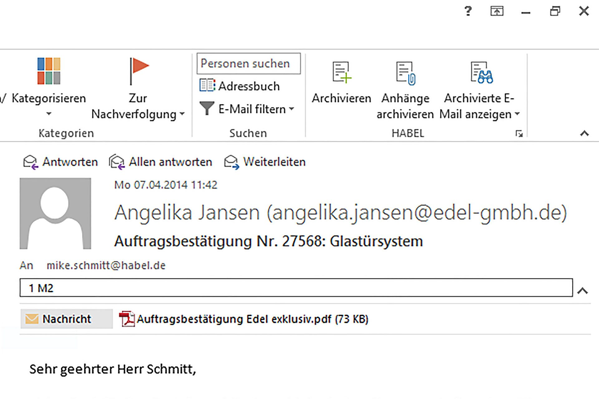 habel office outlook integration plugin screenshot
